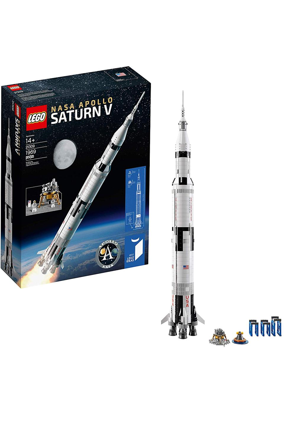 "<p><strong>LEGO</strong></p><p>amazon.com</p><p><strong>$99.99</strong></p><p><a href=""http://www.amazon.com/dp/B071G3QMS2/?tag=syn-yahoo-20&ascsubtag=%5Bartid%7C10067.g.12475659%5Bsrc%7Cyahoo-us"" rel=""nofollow noopener"" target=""_blank"" data-ylk=""slk:Shop Now"" class=""link rapid-noclick-resp"">Shop Now</a></p><p>For the space enthusiast who is equally obsessed with legos, you can't go wrong with this model of NASA's Apollo Saturn V. </p>"