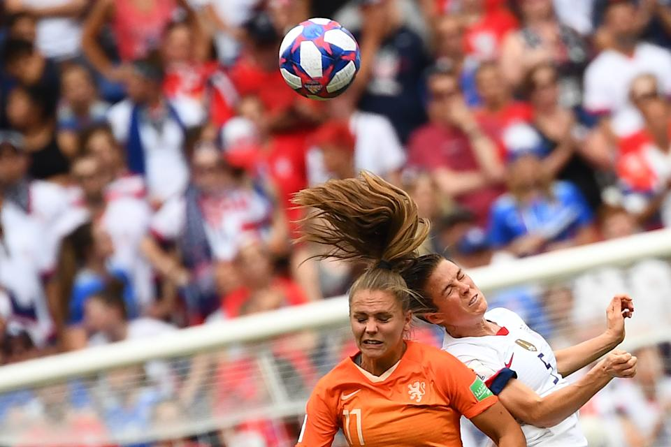 Netherlands' forward Lieke Martens (L) and United States' defender Kelley O'Hara vie for the ball during the France 2019 Womens World Cup football final match between USA and the Netherlands, on July 7, 2019, at the Lyon Stadium in Lyon, central-eastern France. (Photo by FRANCK FIFE/AFP/Getty Images)