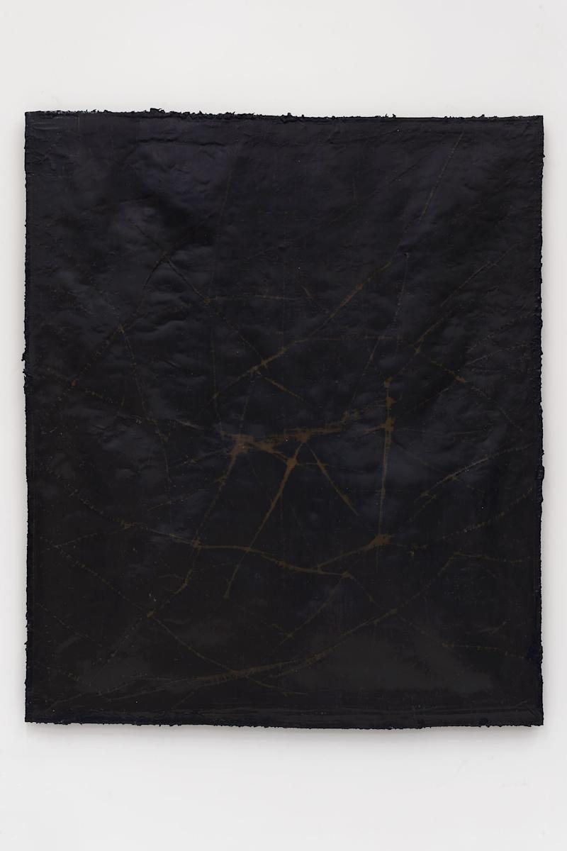 network #5, 2019 Cotton, wax, resin, and tar on canvas 62 1/2 x 53 x 1 1/2 inches