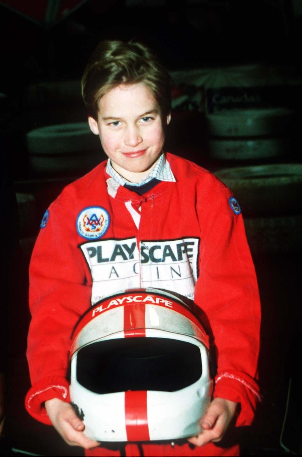 Prince William go-karting at the British Grand Prix in July 1988. (Anwar Hussein)