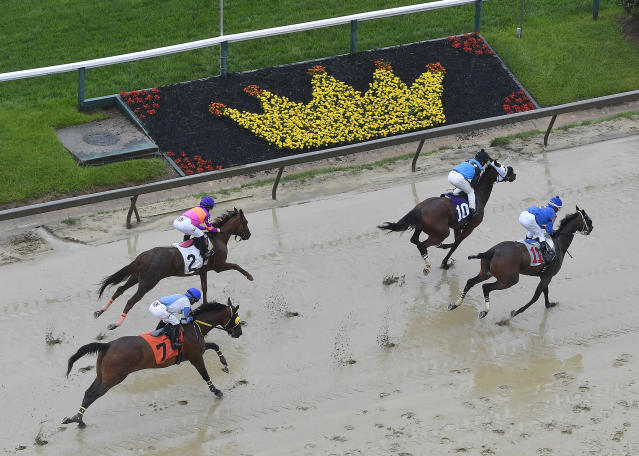 Horses run during the second race ahead of the 143rd Preakness Stakes horse race at Pimlico race track, Saturday, May 19, 2018, in Baltimore. (AP Photo/Mike Stewart)