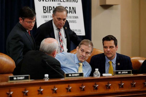 PHOTO: Rep. Louie Gohmert, Rep. Jim Jordan, Ken Buck, Rep. Mike Johnson and Rep. Andy Biggs huddle during a break in the hearing of the House Judiciary Committee on Capitol Hill in Washington, Dec. 4, 2019. (Alex Brandon/AP)
