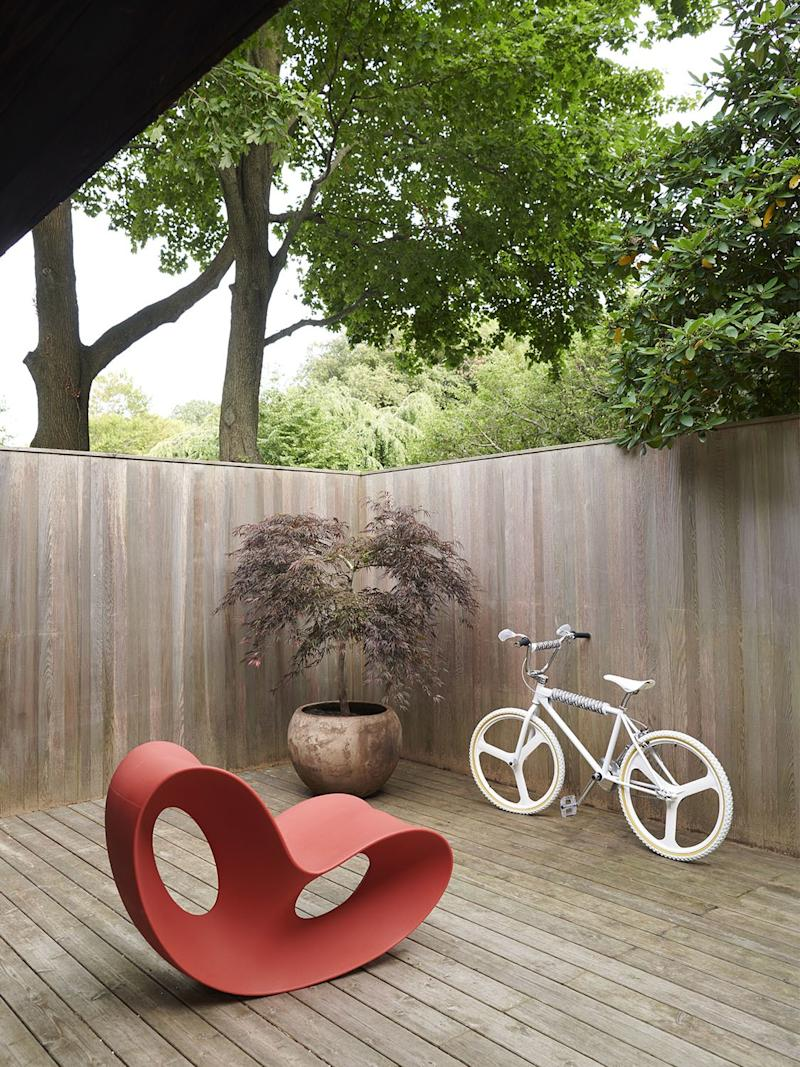 A Ron Arad rocking chair joins a Dior x Bogarde BMX bike on the south deck.
