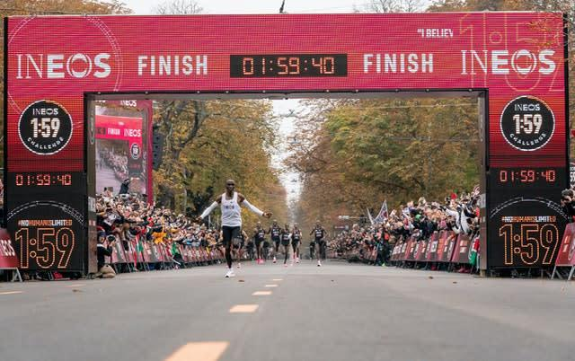 Eliud Kipchoge set a sub two-hour marathon time with the aid of pacemakers (Bob Martin/INEOS/PA)