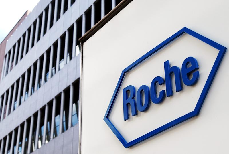 FILE - The Aug. 2, 2005 file photo shows the logo of Swiss pharmaceutics company Roche in Basel, Switzerland. A leading British medical journal is asking the drug maker Roche to release all its data on Tamiflu, claiming there is no evidence the drug can actually stop the flu. The drug has been stockpiled by dozens of governments worldwide in case of a global flu outbreak and was widely used during the 2009 swine flu pandemic. On Monday Nov. 12, 2012, one of the researchers linked to the BMJ called for European governments to sue Roche. (AP Photo/Keystone, Steffen Schmidt)