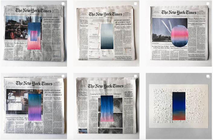 Sho Shibuya's stunning sky pictures bring beauty and lightheartedness to otherwise-grim New York Times papers.