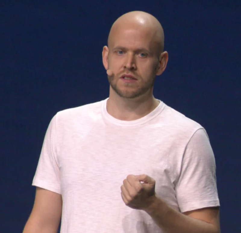 Spotify CEO Daniel Ek giving the company's Investor Day presentation