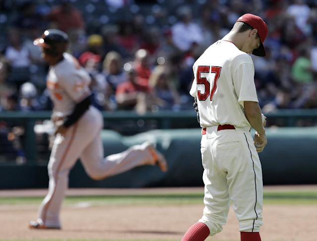 Cleveland Indians relief pitcher Kyle Crockett, right, reacts as Baltimore Orioles' Jonathan Schoop, left, runs the bases after a solo home run in the ninth inning of a baseball game, Sunday, Aug. 17, 2014, in Cleveland. (AP Photo/Tony Dejak)