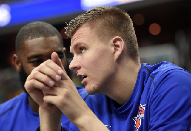 It's Kristaps Porzingis and not much else in New York. (AP)