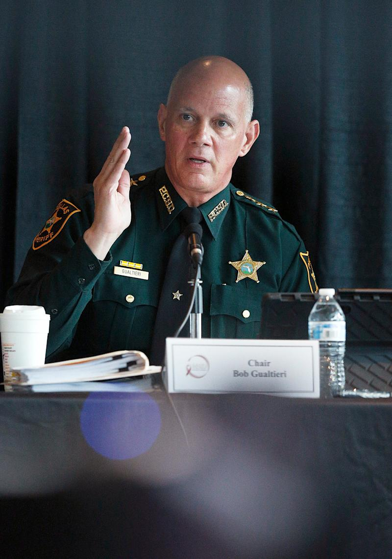 Sheriff and chairperson, Bob Gualtieri, of Pinellas county, Fla., speaks during a state commission meeting as they investigate the Marjory Stoneman Douglas High School massacre and how Broward school district and others access threats on Tuesday, July 10, 2018, in Sunrise, Fla.