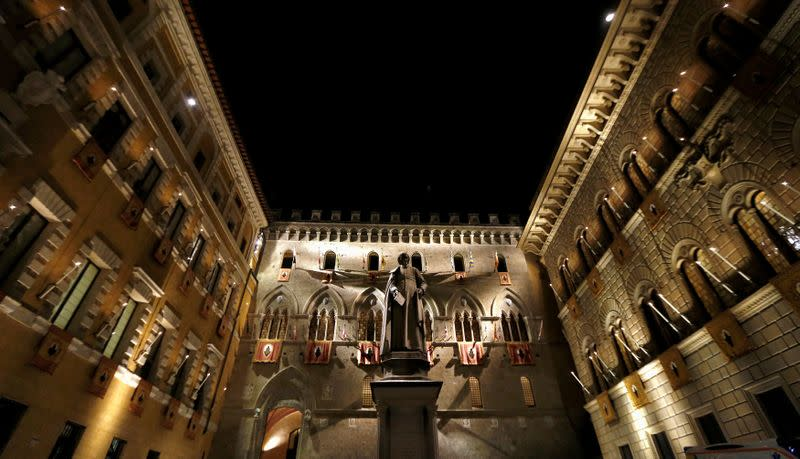 FILE PHOTO: The Monte dei Paschi bank headquarters is pictured in Siena