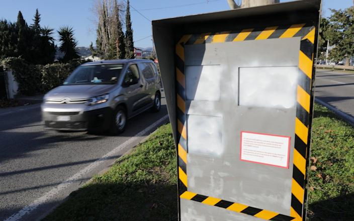 Up to 75 per cent of France's classic traffic speed cameras have been damaged or destroyed in the past nine months - REUTERS