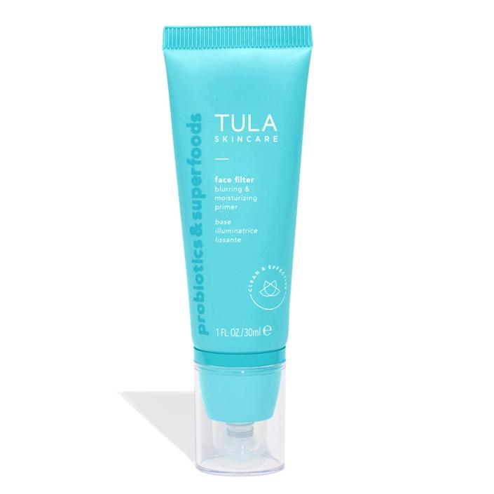 """<h3>Tula Face Filter Blurring and Moisturizing Primer</h3><br><strong>Aimee</strong><br><br>""""This product is truly a holy grail staple in my routine. It creates the perfect no-makeup coverage, somehow minimizing the appearance of pores, fine lines, dark spots, etc. Couldn't recommend it enough!""""<br><br><strong>Tula</strong> Face Filter Blurring and Moisturizing Primer, $, available at <a href=""""https://amzn.to/3hDsXif"""" rel=""""nofollow noopener"""" target=""""_blank"""" data-ylk=""""slk:Amazon"""" class=""""link rapid-noclick-resp"""">Amazon</a>"""