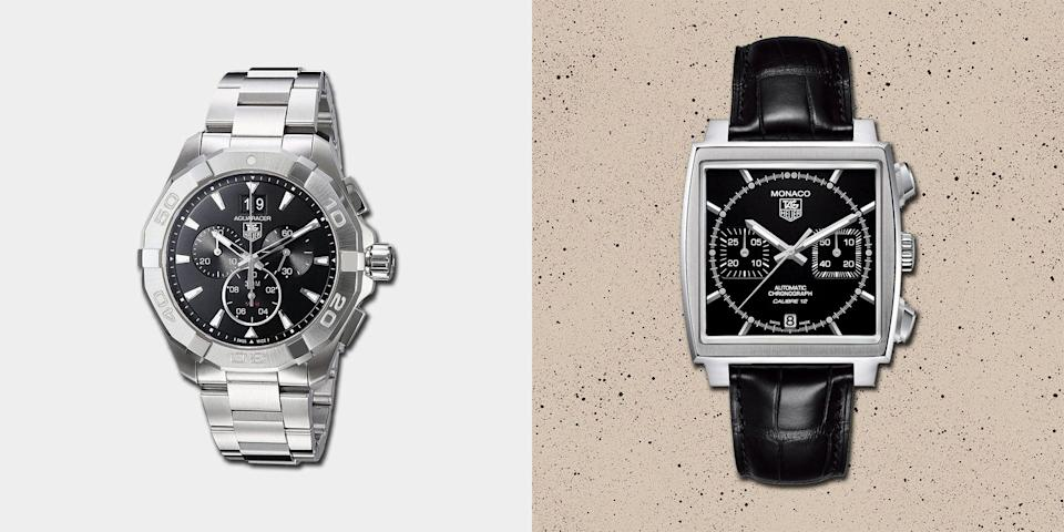 """<p>Tag Heuer is most famous for its <a href=""""http://www.esquire.com/uk/style/watches/g30910700/best-chronographs-under-10000/"""" rel=""""nofollow noopener"""" target=""""_blank"""" data-ylk=""""slk:chronographs"""" class=""""link rapid-noclick-resp"""">chronographs</a>: a watch genre it has excelled in so comprehensively that at one point it was producing them for many of its storied Swiss rivals, including <a href=""""http://www.esquire.com/uk/style/watches/g32849096/best-rolex-watches/"""" rel=""""nofollow noopener"""" target=""""_blank"""" data-ylk=""""slk:Rolex"""" class=""""link rapid-noclick-resp"""">Rolex</a>. Its founder, Édouard Heuer, was an inventor and innovator and something of a maverick, setting up his 19th century watchmaking business in the village of St-Imier and becoming a central part of the history of watchmaking. </p><p>Heuer took out his first chronograph patent in 1882 and five years later came up with the oscillating pinion, the part that allows chronographs to be stopped and started, which is still used today. The company went on to design chronographs for planes, cars and boats. During the Thirties its innovations in dashboard chronographs led to the Autavia (a portmanteau of 'automobile' and 'aviation'), which became one of its key lines. </p><p>It also came up with the first wrist chronograph in 1914 and, soon after, began making stopwatches. Heuer timepieces were used for three Olympics during the Twenties, so beginning an association with sports that stands to this day.</p><p>By the Seventies, however, the company was beginning to falter and a private holding company, Tag (Techniques d'Avant-Garde), purchased a majority stake. The resulting business, now known as Tag Heuer (which is pronounced """"tag hoy-yur"""", btw), was in turn acquired by the LVMH luxury conglomerate in 1999, for nearly half a billion pounds. Tag Heuer now sits as part of the same stable as Louis Vuitton, Tiffany & Co and Moët champagne.</p><p>The association with sports and timing continues to be a profitable one, with nume"""