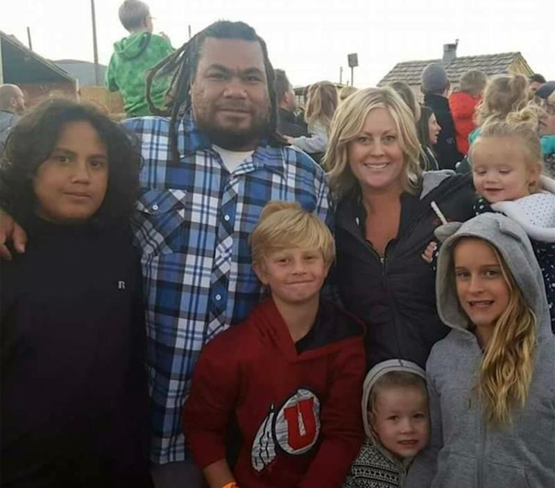 Tiffany King, her fiancé, Moale Fonohema, and their children