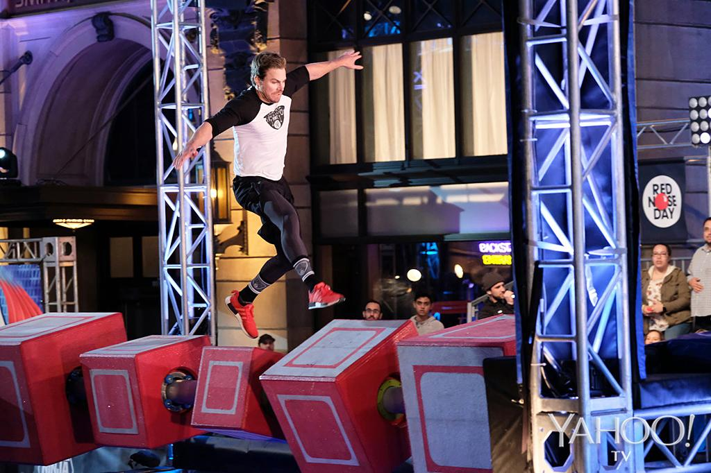 "<p>Those years of parkour <a rel=""nofollow"" href=""https://www.youtube.com/watch?v=J8d2JAoRGnc"">""superhero workouts""</a> definitely pay off on the Floating Steps.<br /><br />(Photo: Tyler Golden/NBC) </p>"