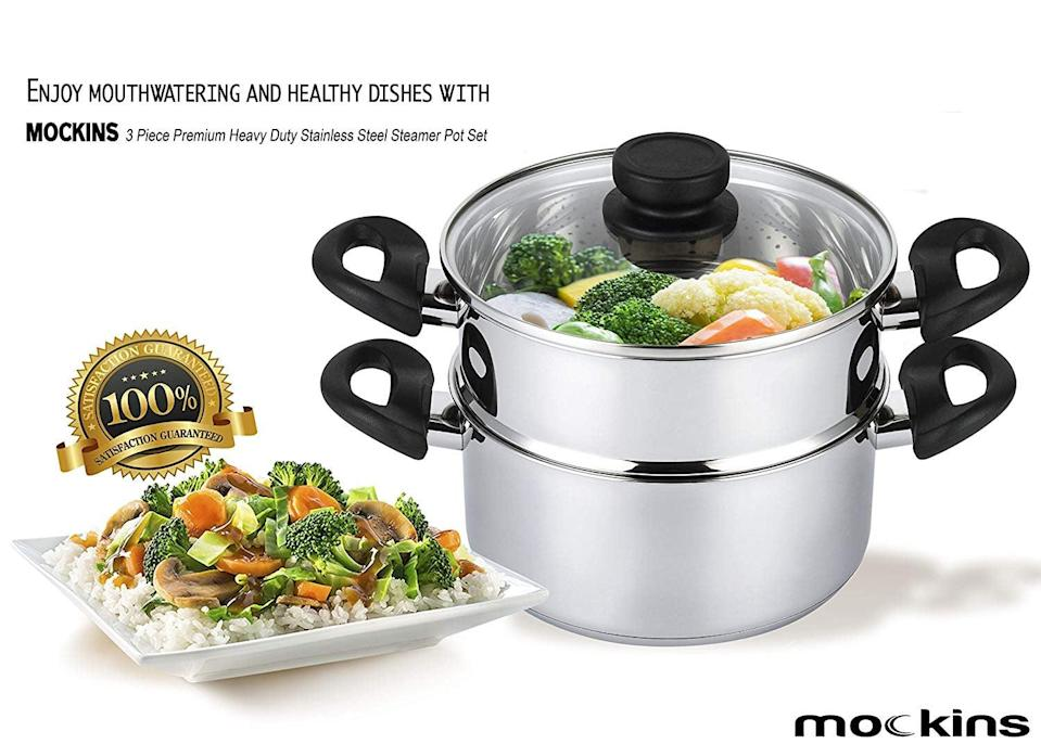 <p>Steam vegetables for every meal with this top-rated <span>Mockins Premium Heavy-Duty Stainless-Steel Steamer</span> ($28).</p>