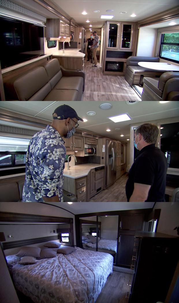 Gary Threlfall (middle, right) shows Kelefa Sanneh some of the amenities of a Jayco Precept 34G motorhome. / Credit: CBS News