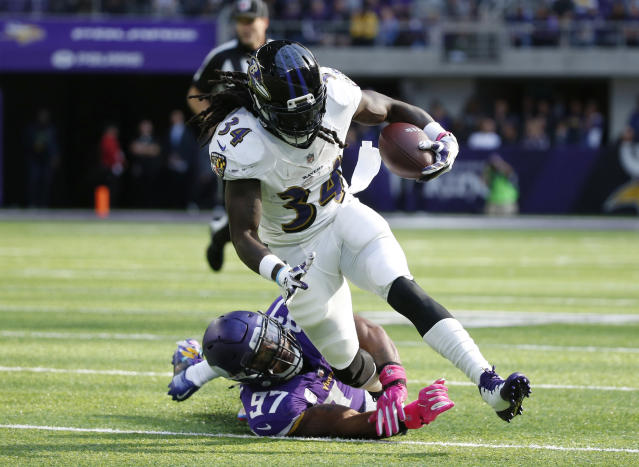 Alex Collins has handled double-digit carries in four straight games, and he's coming off a 100-plus yard performance against Miami. (AP Photo/Bruce Kluckhohn)