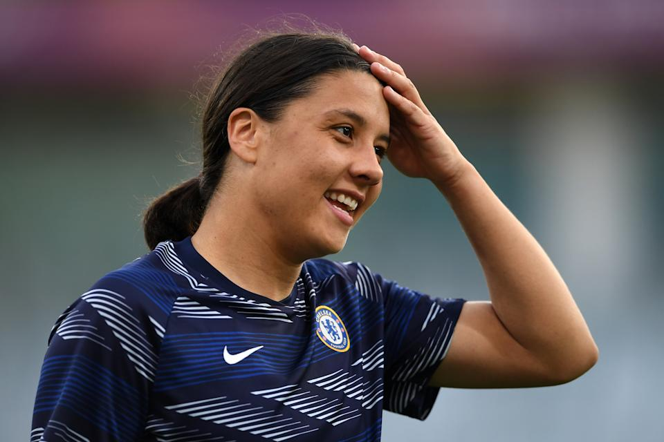 GOTHENBURG, SWEDEN - MAY 16: Sam Kerr of Chelsea looks on prior to the UEFA Women's Champions League Final match between Chelsea FC and Barcelona at Gamla Ullevi on May 16, 2021 in Gothenburg, Sweden. (Photo by Harriet Lander - Chelsea FC/Chelsea FC via Getty Images)