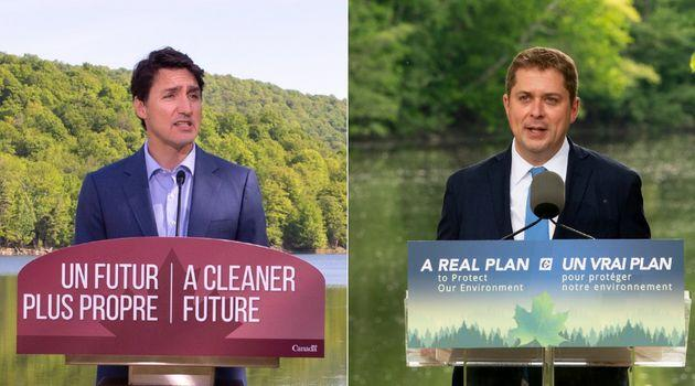Prime Minister Justin Trudeau and Conservative Leader Andrew Scheer are shown in a composite image.