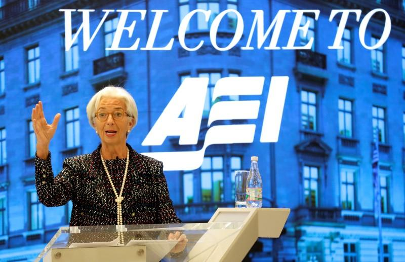 Managing Director of the International Monetary Fund Christine Lagarde speaks at the American Enterprise Institute in Washington