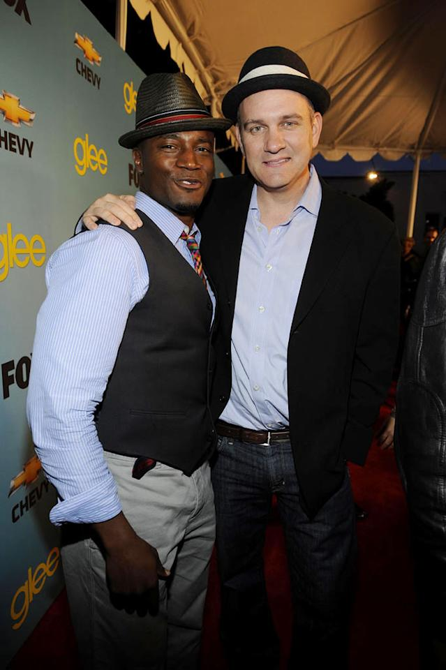 "<a href=""/taye-diggs/contributor/30623"">Taye Diggs</a> and <a href=""/mike-o-39-malley/contributor/48482"">Mike O'Malley</a> (""Burt Hummel"") arrive at Fox's <a href=""/glee/show/44113"">""Glee""</a> Spring Premiere Soiree at Chateau Marmont on April 12, 2010 in Los Angeles, California."