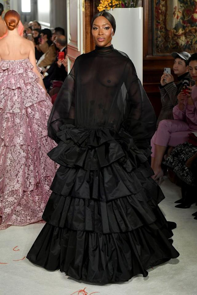 <p>But she's still regularly booking shows, proving she's a legend with staying power. Check out this showstopping sheer number she wore at Valentino's haute couture event.</p>