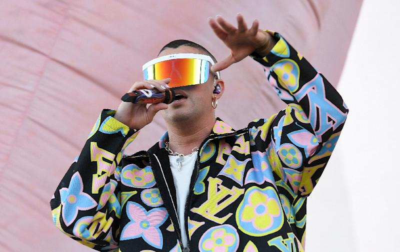 Puerto Rican singer Bad Bunny played a top slot at the Coachella music festival, signaling the mass appeal of Spanish-language music in the US (AFP Photo/VALERIE MACON)
