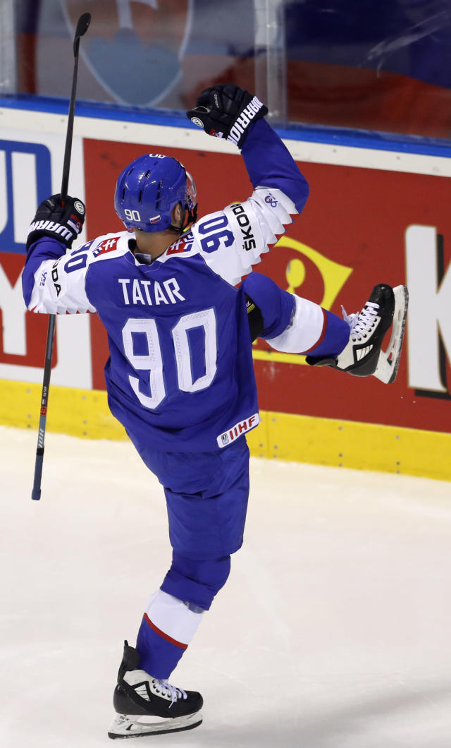 Slovakia's Tomas Tatar celebrates scoring his sides third goal during the Ice Hockey World Championships group A match between Slovakia and the United States at the Steel Arena in Kosice, Slovakia, Friday, May 10, 2019. (AP Photo/Petr David Josek)