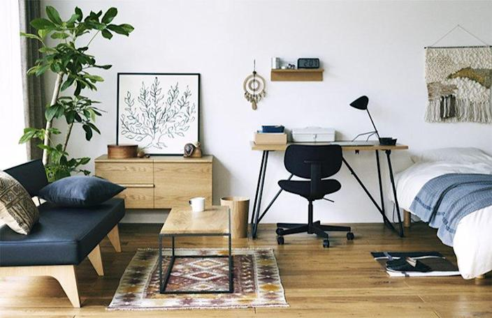 Simple, sleek workspace pieces available to rent through MUJI's new furniture subscription service.