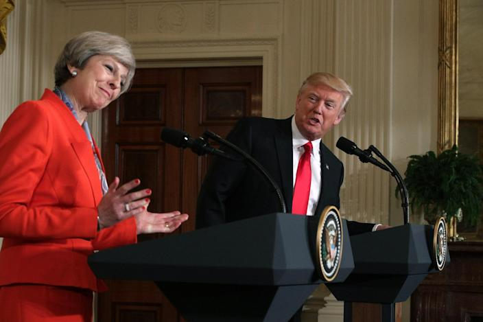S. President Donald Trump (R) and British Prime Minister Theresa May (L) participate in a joint press conference at the East Room of the White House January 27, 2017 in Washington, DC: Alex Wong/Getty Images