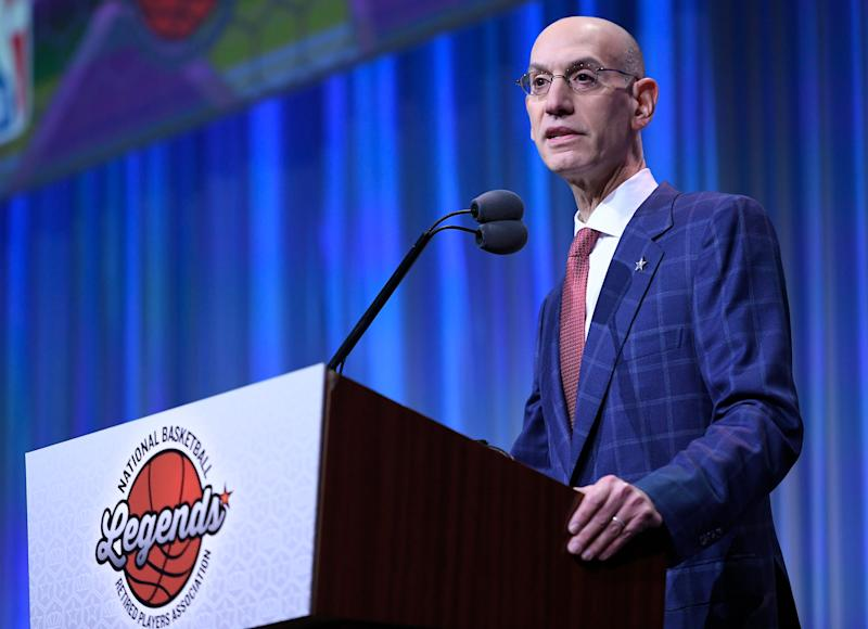 CHARLOTTE, NC - FEBRUARY 16: NBA Commissioner Adam Silver speaks at the Star Breakfast organized by the National Association of Retired Basketball Players at the Renaissance Charlotte Suites Hotel on February 16, 2019 in Charlotte. , North Carolina. (Photo by John McCoy / Getty Images)