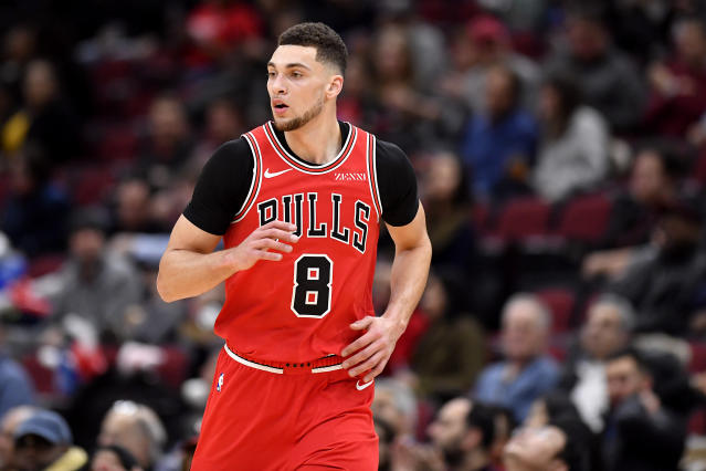 Zach LaVine #8 of the Chicago Bulls. (Photo by Quinn Harris/Getty Images)