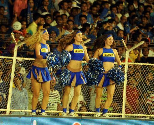 Ahmedabad: Cheer leaders perform during an IPL-2015 match between Rajasthan Royals and Mumbai Indians at Sardar Patel Stadium, in Ahmedabad, on April 14, 2015. (Photo: IANS)