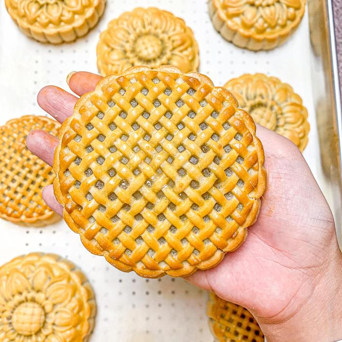One of Nuyen's baked mooncakes with a nontraditional pressed lattice pattern. (Courtesy Suzanne Nuyen)