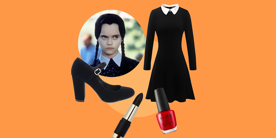 """<p>Wednesday Addams from <em><a href=""""https://www.goodhousekeeping.com/life/entertainment/g3933/addams-family-cast-then-and-now/"""" rel=""""nofollow noopener"""" target=""""_blank"""" data-ylk=""""slk:T"""" class=""""link rapid-noclick-resp"""">T</a></em><em><a href=""""https://www.goodhousekeeping.com/life/entertainment/g3933/addams-family-cast-then-and-now/"""" rel=""""nofollow noopener"""" target=""""_blank"""" data-ylk=""""slk:he Addams Family"""" class=""""link rapid-noclick-resp"""">he Addams Family </a>i</em>s arguably the Queen of Halloween. That's why a good <strong>Wednesday Addams' Halloween costume</strong> is one of the best choices to go with year after year. And because of the simplicity of her look: a black dress and tights, this is a costume you can easily DIY (even if you can't nail the braided pigtails on your own). If you're looking to dress up your favorite toddler or baby as Wednesday, there are plenty of scary (erm, <em>adorable</em>) options you can buy to complete the look. </p><p>Not sure where to snag these essentials in time for Halloween? We've got you covered, from the best Wednesday Addams wigs and dresses to perfect <a href=""""https://www.goodhousekeeping.com/holidays/halloween-ideas/g2599/halloween-costumes-with-makeup-ideas/"""" rel=""""nofollow noopener"""" target=""""_blank"""" data-ylk=""""slk:Halloween makeup ideas"""" class=""""link rapid-noclick-resp"""">Halloween makeup ideas</a> (including Wednesday's essential <a href=""""https://www.goodhousekeeping.com/beauty/nails/g29831822/best-red-nail-polish-colors/"""" rel=""""nofollow noopener"""" target=""""_blank"""" data-ylk=""""slk:red nail polish"""" class=""""link rapid-noclick-resp"""">red nail polish</a> look). And while you're at it, we highly recommend convincing your entire family to dress as the other members of the Addams family, including Morticia, Gomez, Pugsley, Uncle Fester and everyone else. We definitely encourage you to dress your kids as your literal mini-me! Just check out our comprehensive roundup, which includes the best Wednesday Addams costume ideas for adults, kids, ba"""