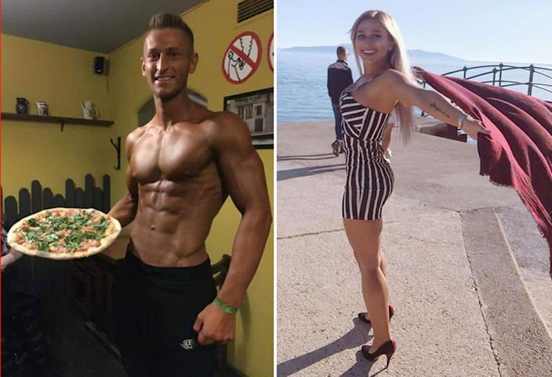 Photo of Zdenek Slouka and another photo of Sabina Dolezalova, the couple who disrespected a temple in Bali