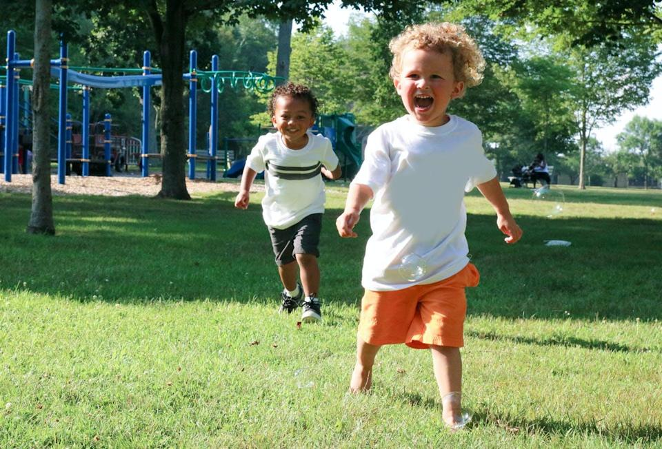 """<span class=""""caption"""">A study of children playing outdoors in child care settings found they were most active within the first 10 minutes of outdoor play.</span> <span class=""""attribution""""><span class=""""source"""">(Shutterstock)</span></span>"""
