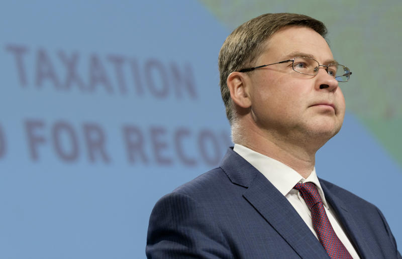BRUSSELS, BELGIUM - JULY 15 : EU Commissioner for An Economy That Works for People - Executive Vice President Valdis Dombrovskis is talking to media during a press conference presenting the EU package to fight tax evasion, on July 15, 2020, in the Berlaymont, the EU Commission headquarters in Brussels. (Photo by Thierry Monasse/Getty Images)