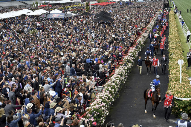 FILE - In this Tuesday, Nov. 7, 2017, file photo, horses enter the track before the start of the Melbourne Cup at Flemington Racecourse in Melbourne. In Australia, where horse racing is arguably more popular than in any other country on the planet, the sport is continuing, minus the spectators, despite the nation's struggle to contain the new coronavirus. (AP Photo/Andy Brownbill, File)