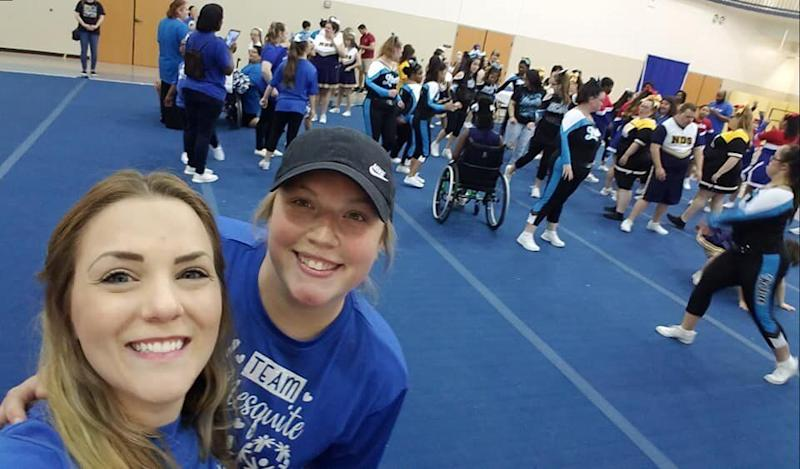 Elaine Schor (left) and Allee Pence (right) take a selfie at the end of the Special Olympics Texas Cheer competition. (Credit: Elaine Schor/Allee Pence)