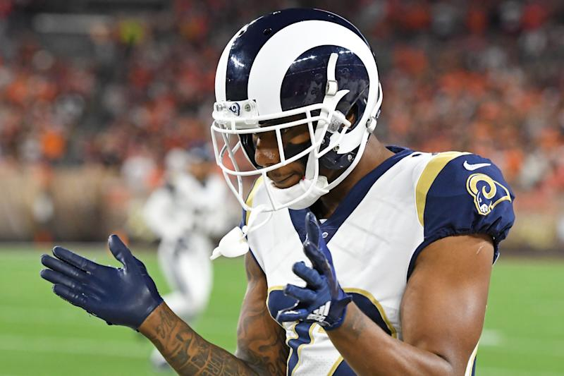 CLEVELAND, OH - SEPTEMBER 22, 2019: Cornerback Marcus Peters #22 of the Los Angeles Rams claps as he paces the sideline prior to a game against the Cleveland Browns on September 22, 2019 at FirstEnergy Stadium in Cleveland, Ohio. Los Angeles won 20-13. (Photo by: 2019 Nick Cammett/Diamond Images via Getty Images)