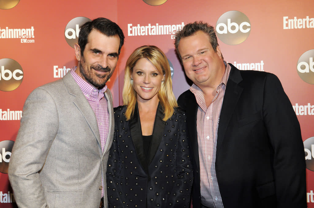 "Ty Burrell, Julie Bowen, and Eric Stonestreet (""Modern Family"") attend the Entertainment Weekly & ABC 2013 New York Upfront Party at The General on May 14, 2013 in New York City."