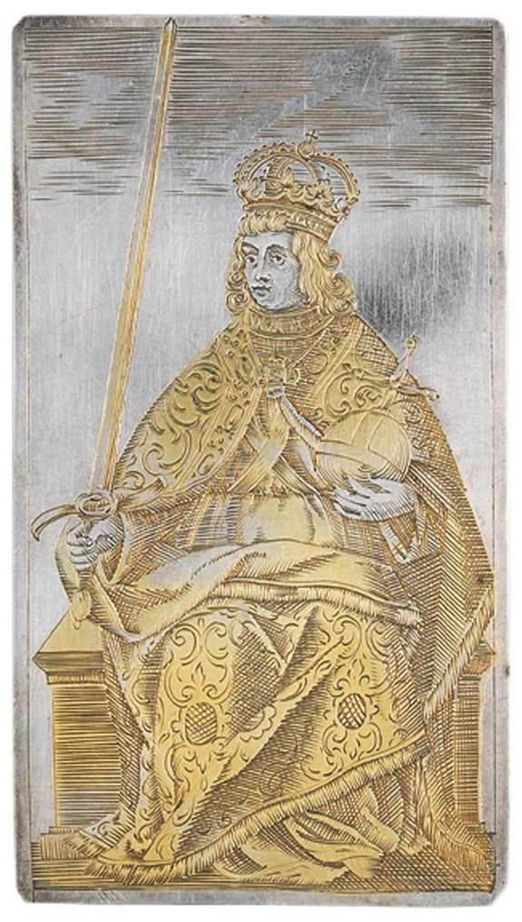 """Among a set of playing cards from 400 years ago was this king of swords, with the ruler dressed as a Holy Roman Emperor. [<a href=""""http://www.livescience.com/25065-ancient-silver-playing-cards.html"""" rel=""""nofollow noopener"""" target=""""_blank"""" data-ylk=""""slk:See more photos of the cards"""" class=""""link rapid-noclick-resp"""">See more photos of the cards</a>]"""
