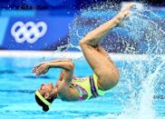 <p>TOKYO, JAPAN - AUGUST 03: Nuria Diosdado and Joana Jimenez of Team Mexico compete in the Artistic Swimming Duet Technical Routine on day eleven of the Tokyo 2020 Olympic Games at Tokyo Aquatics Centre on August 03, 2021 in Tokyo, Japan. (Photo by Wang Xianmin/CHINASPORTS/VCG via Getty Images)</p>