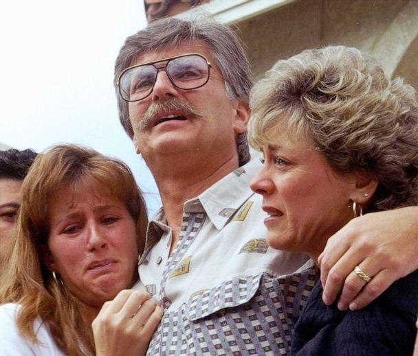 PHOTO: The family of Ronald Goldman, Kim Goldman, Fred Goldman, and Patti Goldman comfort each other during a conference in Ventura County Calif., June 15, 1994. (Tara Farrell/AP, FILE)