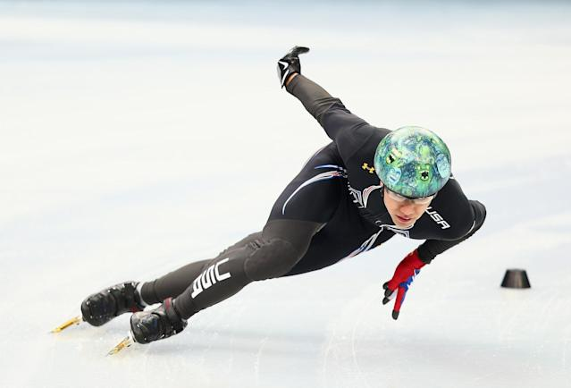 SOCHI, RUSSIA - JANUARY 31: Short track skater J.R. Celski of the United States practices prior to the Sochi 2014 Winter Olympics at the Iceberg Skating Palace on January 31, 2014 in Sochi, Russia. (Photo by Clive Mason/Getty Images)