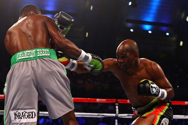 ATLANTIC CITY, NJ - APRIL 28:  Bernard Hopkins (black trunks) throws a punch against Chad Dawson (grey trunks) during their WBC & Ring Magazine Light Heavyweight Title fight at Boardwalk Hall Arena on April 28, 2012 in Atlantic City, New Jersey.  (Photo by Al Bello/Getty Images)