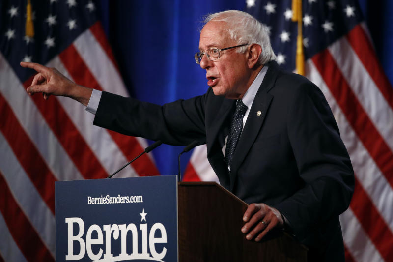 "Democratic presidential candidate, Sen. Bernie Sanders, I-Vt., speaks about his ""Medicare for All"" proposal Wednesday, July 17, 2019, at George Washington University in Washington. (AP Photo/Patrick Semansky)"